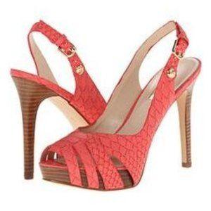 Pink Guess Python Slingback Heel Sandals Size 7